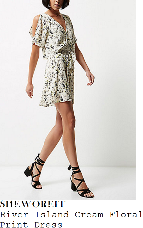 vicky-pattison-river-island-cream-black-pale-grey-and-yellow-floral-print-short-sleeve-v-neck-wrap-front-split-cold-shoulder-detail-high-waisted-mini-dres