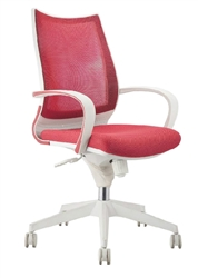 Red Mesh Office Chair with White Frame