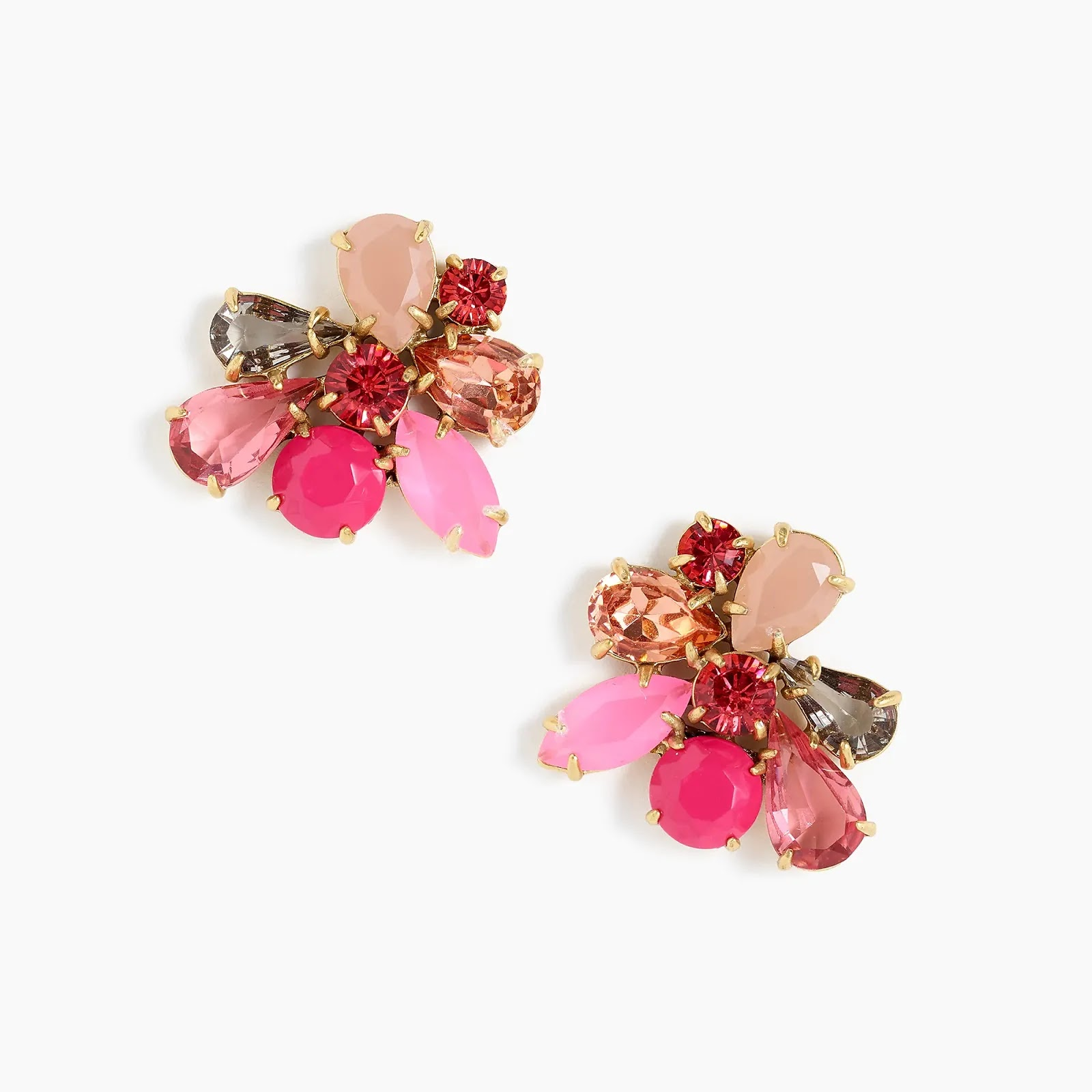 J Crew Pink Crystal cluster earrings - statement fashion blog