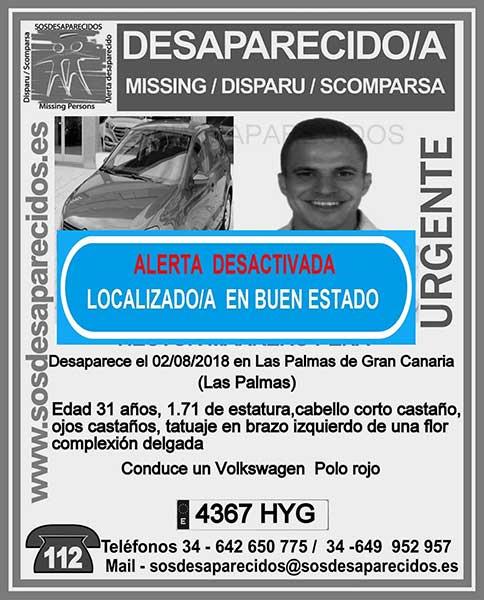 Localizan buen estado desaparecido en Las Palmas de Gran Canaria