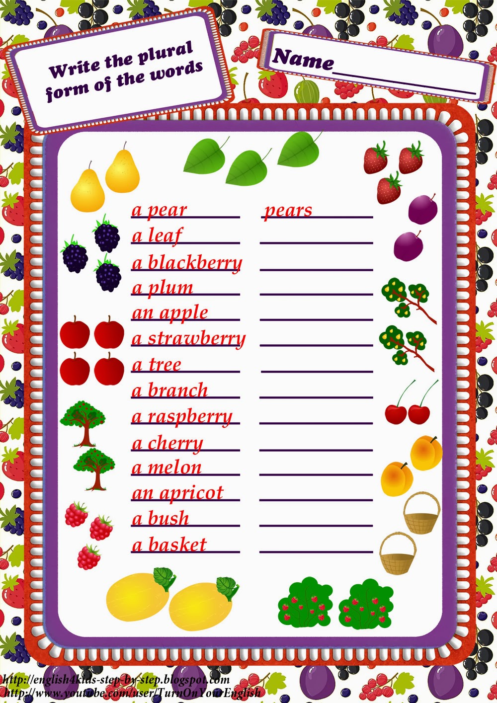 Workbooks making words plural worksheets : Fruits and Berries Worksheets