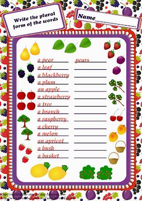 fruit together with berries plural shape grammer worksheet