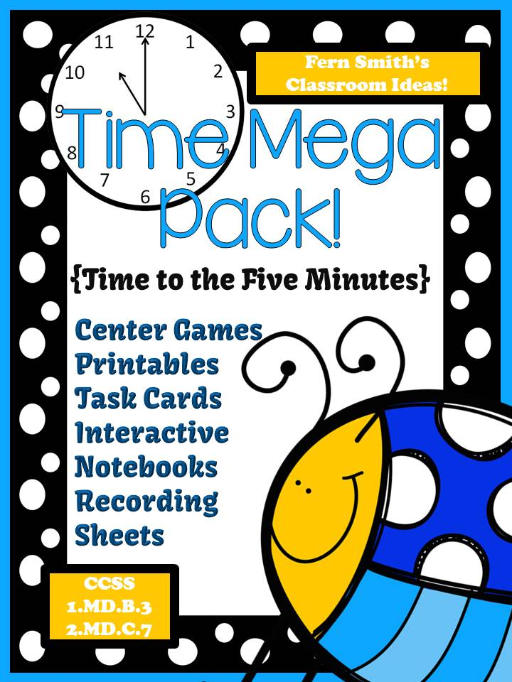 Fern Smith's Springtime Time Mega Pack - Printables, Center Games, Task Cards and Foldables For 1.MD.B.3