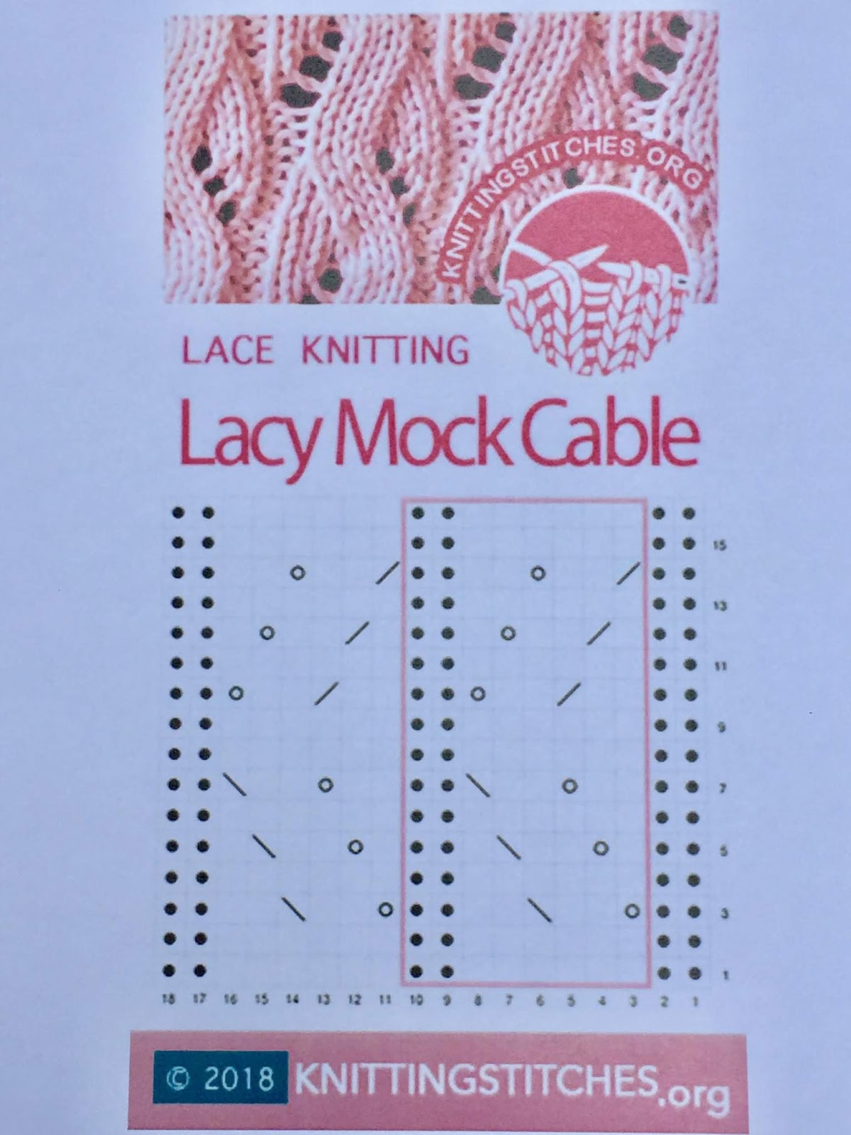 Knitting Stitches 2018 - Lacy Mock Cable