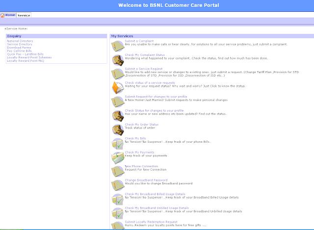 BSNL Selfcare Portal Usage Process