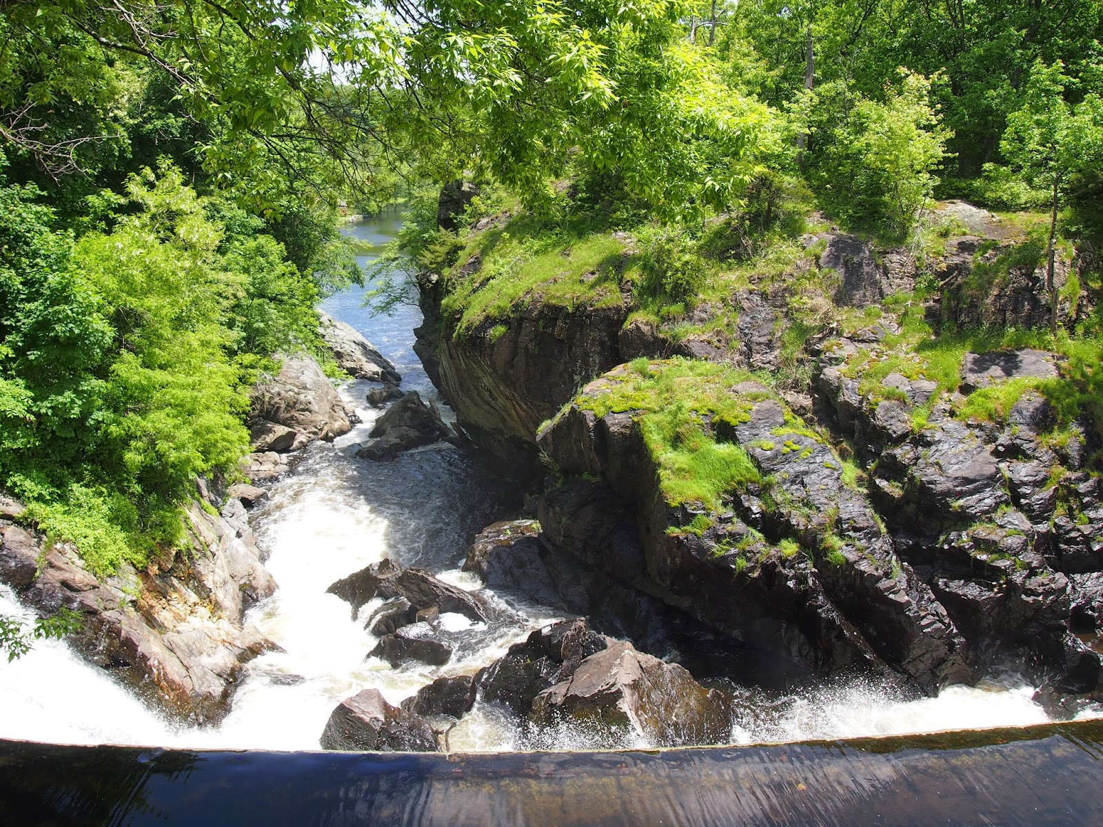 The large waterfalls of Indian Leap in Norwich, Connecticut