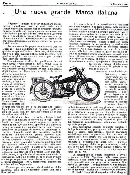 Moto Guzzi G.P. 500 prototype review 1920