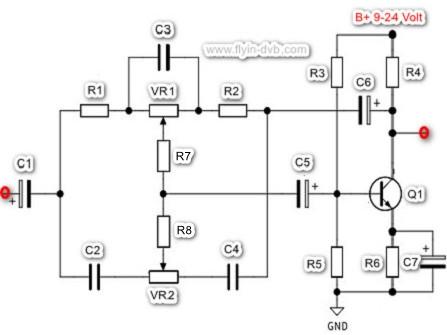 Skema Tone Control Sederhana 1 Transistor