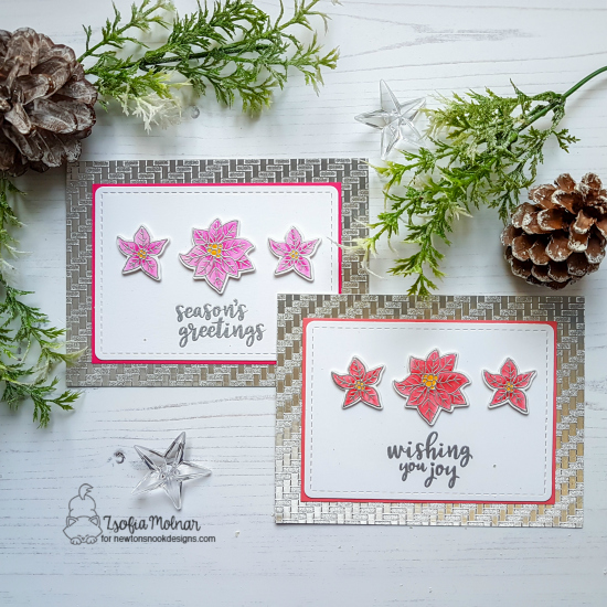 Duo of Christmas Cards by Zsofia Molnar | Poinsettia Blooms Stamp Set by Newton's Nook Designs #newtonsnook #handmade
