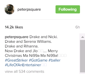 Nigerian Singer Peter Okoye Of Psquare Lauds Drake Over Dating 'Achievements'