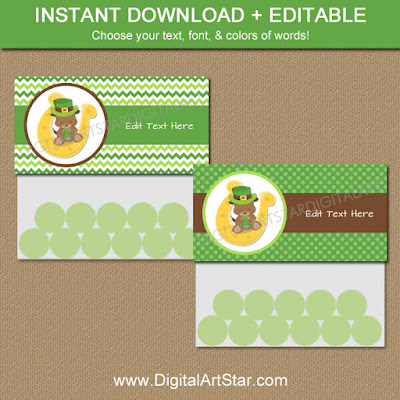 printable st patricks day treat bag toppers with chevron, polka dots, and lucky puppy for kids