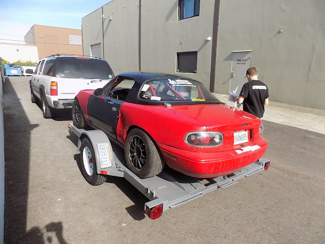 Collision repairs on Spec Miata Race Car.