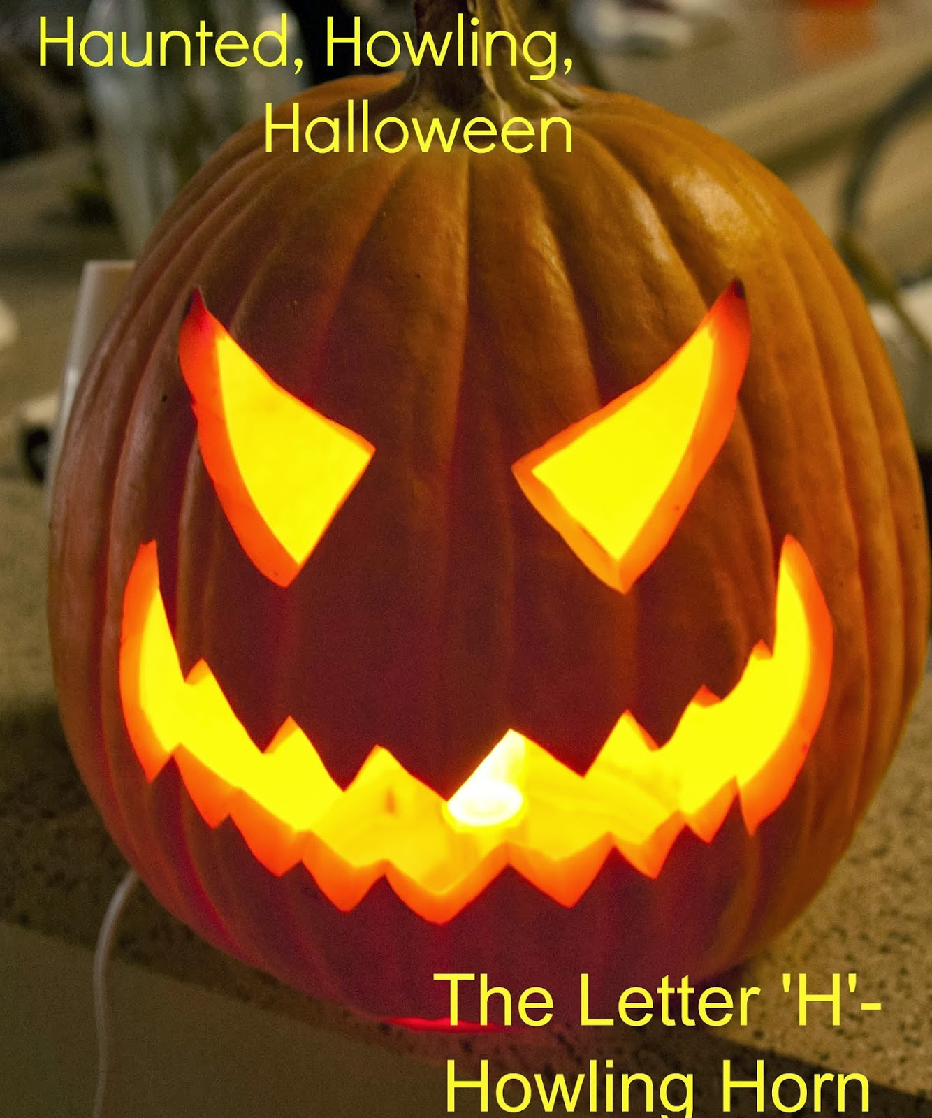 Howling Horn Haunted Howling Halloween Letter H