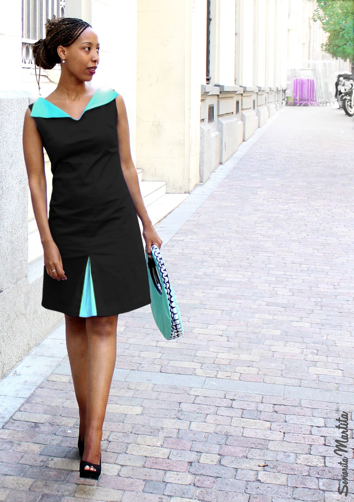dress by Senorita Martita | black cotton with aquamarine collar