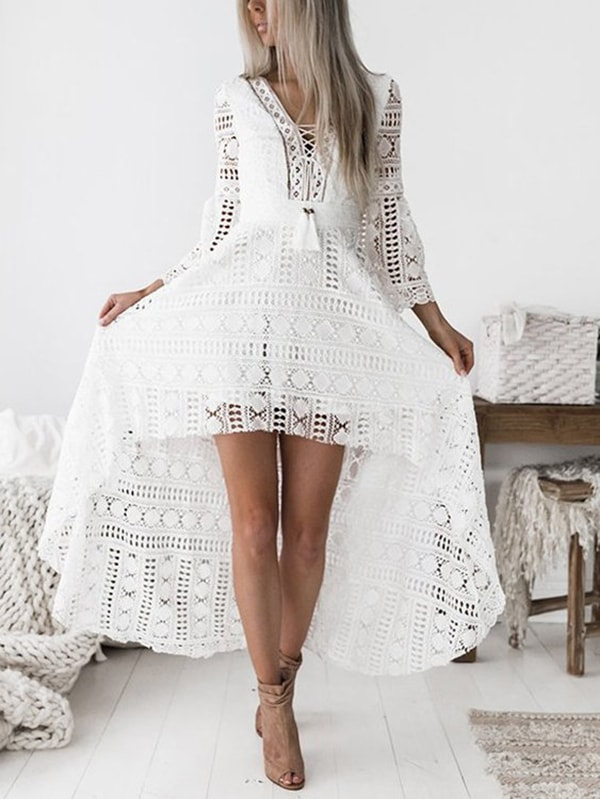 White Deep V-neck Hollow Out Crochet Lace Dress
