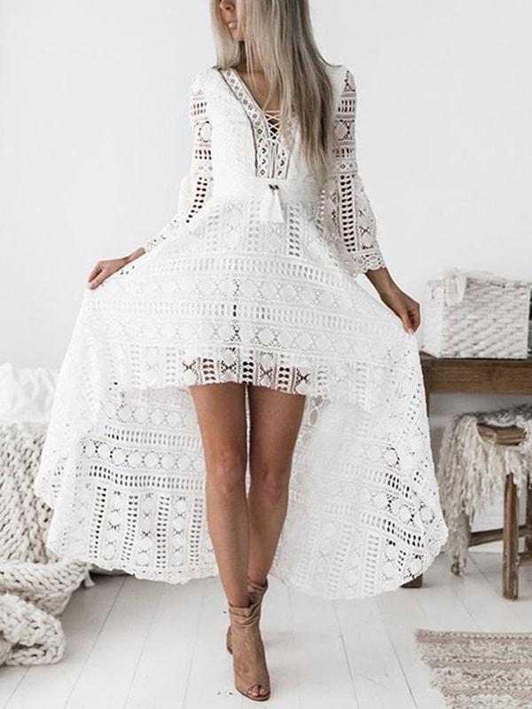 White Deep V-neck Hollow Out Crochet Lace Dress