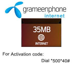 Grameenphone Weekly(7Days) Internet Pacakge 15 Taka 35MB
