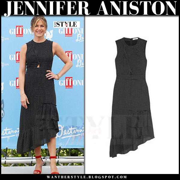 Jennifer Aniston in black star print ruffle midi dress tibi estrella what she wore