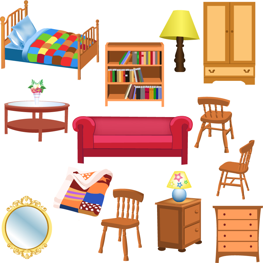 items in a living room free vector がらくた素材庫 お洒落な家具のクリップアート variety of furniture 23028