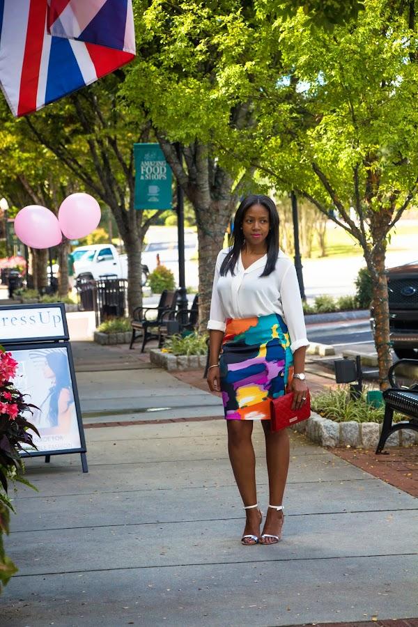 floral pencil skirt marc jacobs clutch