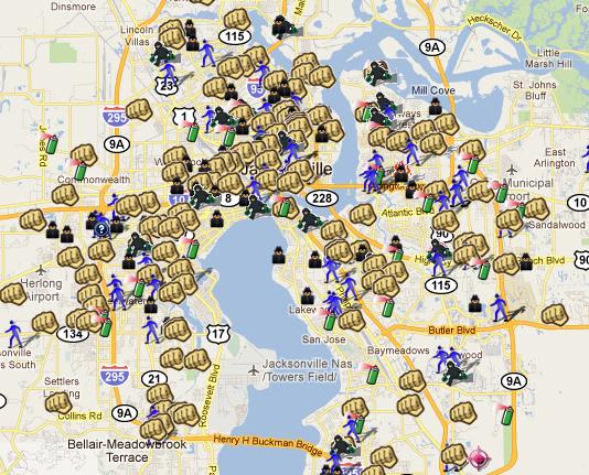 SpotCrime - The Public\'s Crime Map: Jacksonville, FL Heat Map