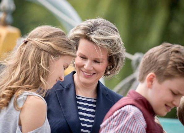 King Philippe, Queen Mathilde, Crown Princess Elisabeth, Princess Eleonore, Prince Emmanuel and Prince Gabriel visited the Mercator sailing ship