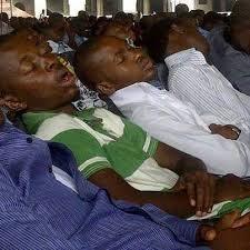 sleeping inside church