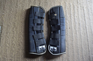 A pair of front travelling boots for horses