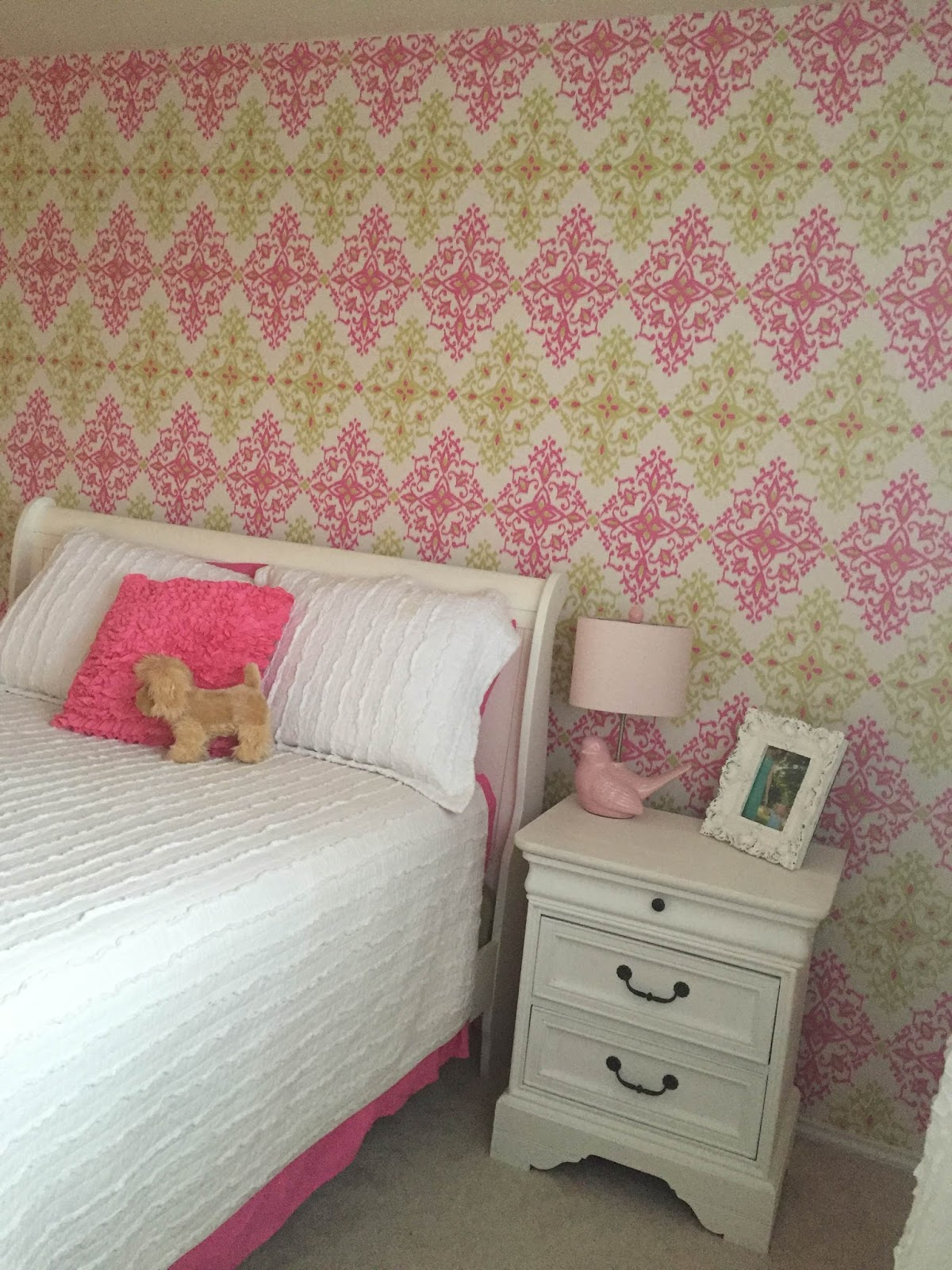 Amazing Bed Craigslist Dresser Craiglist painted in Annie Sloan Pure white by me Pink Bird Lamp Home Goods Curtains Target Sewed pink pom pom from Hobby