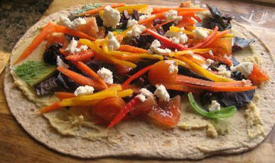 Veggie Hummus Wrap Under 500 Calories #veggiewraprecipe