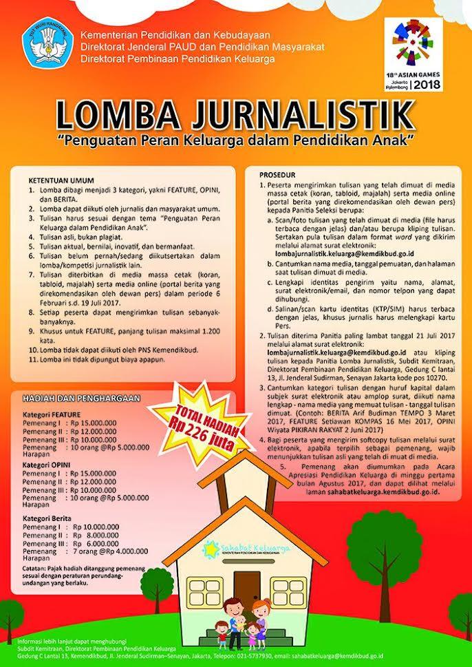 """Lomba Jurnalistik """"Penguatan Peran Keluarga Dalam Pendidikan Anak"""" Kemendikbud 2017"""
