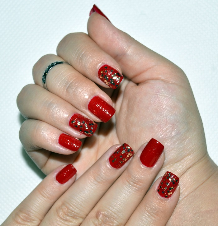 beauty, diy nails, gold sparkly nails, nail art, nail design, nails, natural nails, red nails, short nails, sparkly nails, seche vite top coat, seche clear base coat