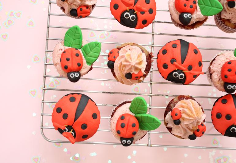 vegan love bug marble cupcakes