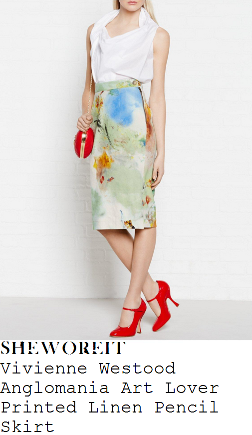 holly-willoughby-vivienne-westwood-anglomania-art-lover-cream-and-green-paint-splash-print-linen-pencil-skirt