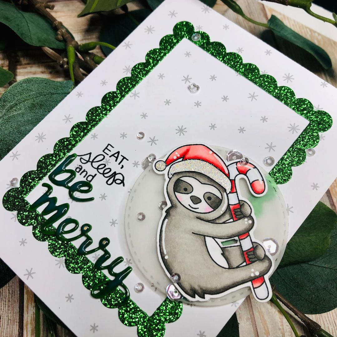 Be Merry Slothy Christmas Card by Guest Designer Kelli Cool   Slothy Christmas Stamp Set and Holiday Greetings Die Set by Newton's Nook Designs #newtonsnook #handmade