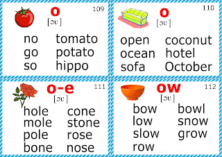 phonics flashcards, long O vowel