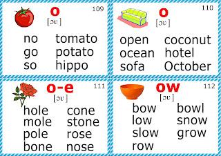 phonics flashcards, long O vowel