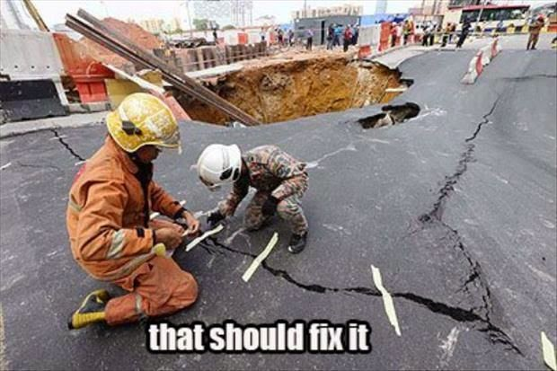Funny Earthquake Damage Repair Fail - That should fix it