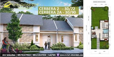 Model Rumah dan Denah Ruang Tipe Cerbera 2, 30/72 dan 2A, 30/90
