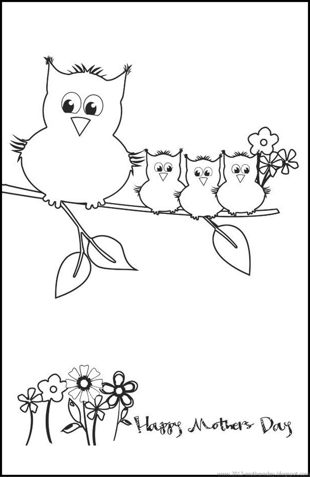 Free mothers day coloring pages for kids ~ Wallpaper Free Download: printable mothers day card ...