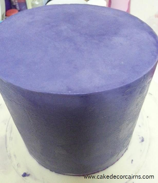 Coloured Ganache Recipe. How to Color ganache instructions. Cake. Cake Decor in Cairns. purple colored ganache