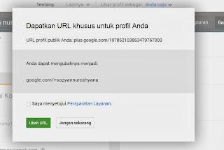 konfirmasi rubah url profile google plus