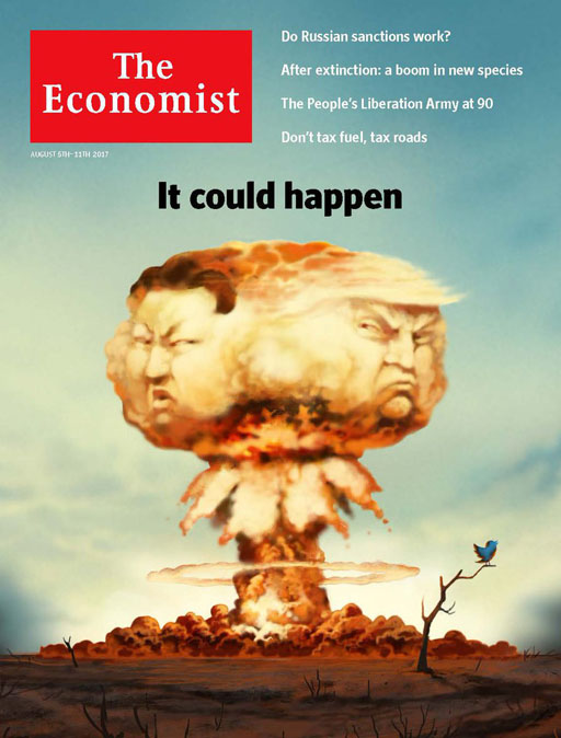 "As Donald Trump threatens North Korea with ""fire & fury"" The Economist depicts the possible conflict on this week's cover."
