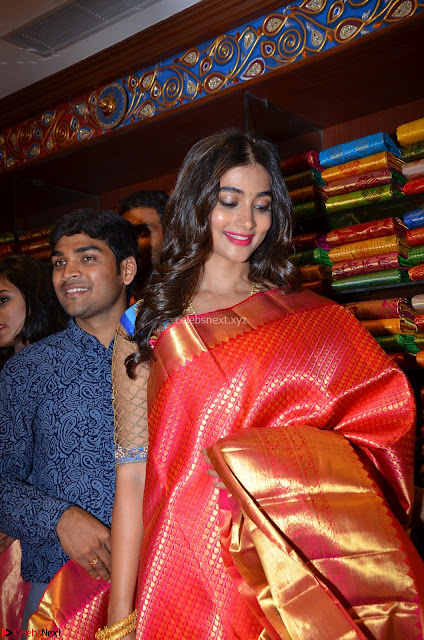 Puja Hegde looks stunning in Red saree at launch of Anutex shopping mall ~ Celebrities Galleries 003.JPG