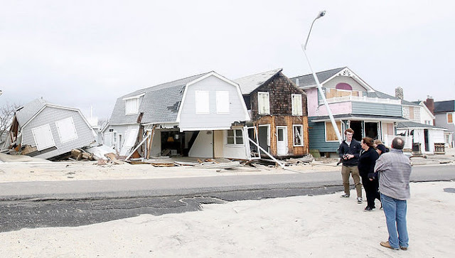 Collapsed oceanfront homes on the Manasquan beachfront