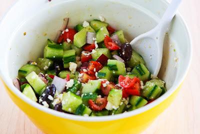 Greek Salad Spaghetti Squash Bowl found on KalynsKitchen.com