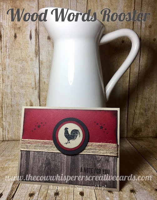 Wood Words, Rooster, Stampin Up, card, rustic, card, farm, wood