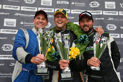 2018 Caterham Roadsport Race 13 podium (l-r) Me! P2, James Murphy P1, and Toby Clowes P3.