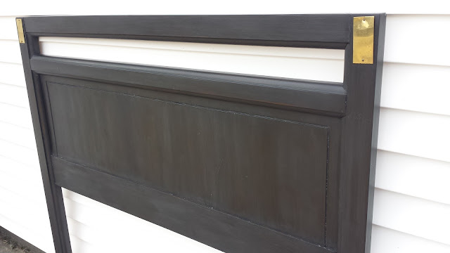 Campaign Headboard Painted With Americana Decor Chalky Finish paint Carbon