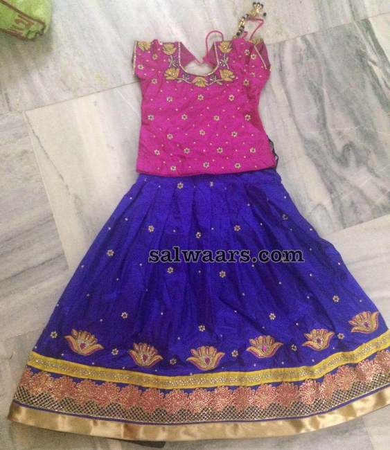 Rose Work Blue Lehenga for Kids